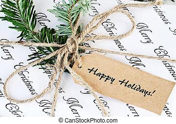 vrolijke , label, kerstkado, feestdagen