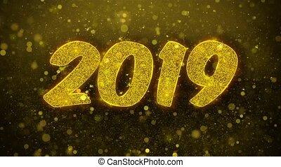 vrolijke , looped., kaart, uitnodiging, wensen, 2019, begroetenen, jaar, nieuw, vuurwerk, viering