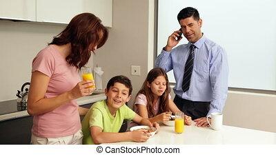 vrolijke , ontbijt, gezin