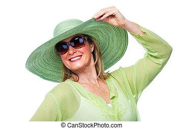 vrolijke , oude vrouw, hoedje, sunglasses.