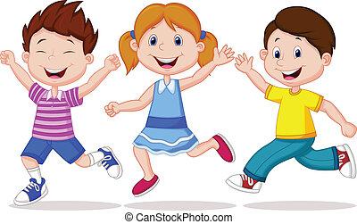 vrolijke , rennende , spotprent, kinderen