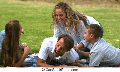 vrolijke , samen, spelend, gezin