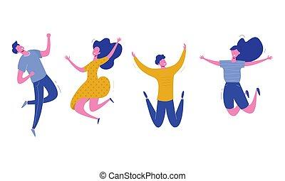 vrolijke , set, vrouwlijk, mensen, moderne, jonge, illustratie, achtergrond., vector, karakters, modieus, wit mannelijk, springt