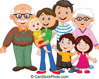 vrolijke , spotprent, gezin