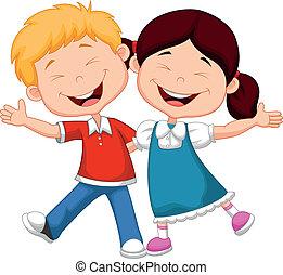vrolijke , spotprent, kinderen