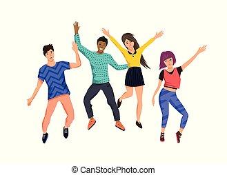 vrolijke , springt, groep, jongeren
