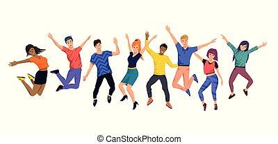 vrolijke , springt, jonge, verzameling, mensen