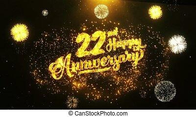 vrolijke , tekst, wensen, groet, viering, achtergrond, jubileum, 22nd, uitnodiging