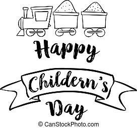vrolijke , trein, childrens, dag