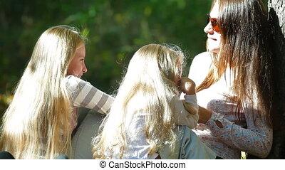 vrolijke , twee, dochter, moeder