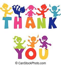 vrolijke , u, concept, danken, kinderen