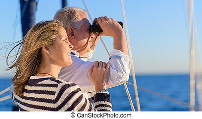 vrolijke , vakantie, paar, middelbare leeftijd