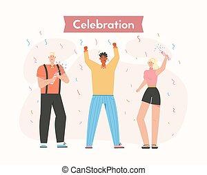 vrolijke , viering, mensen, groep