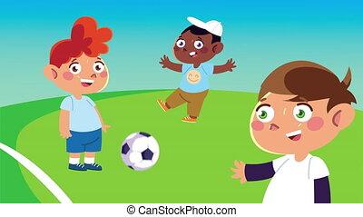 vrolijke , voetbal, karakters, animatie, geitjes, weinig; niet zo(veel), spelend