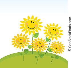 vrolijke , zonnebloemen, tuin, lente