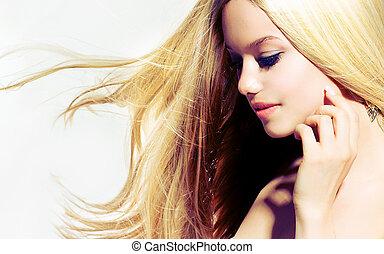 vrouw, aandoenlijk, beauty, portrait., jonge, gezicht, haar, mooi