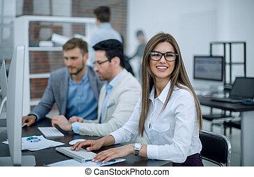vrouw, achtergrond, zakenkantoor