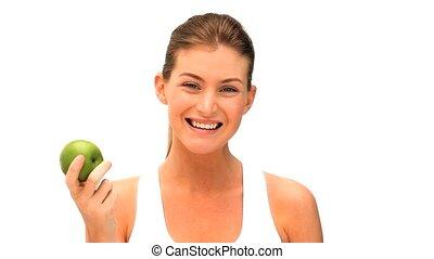 vrouw, appel, eten