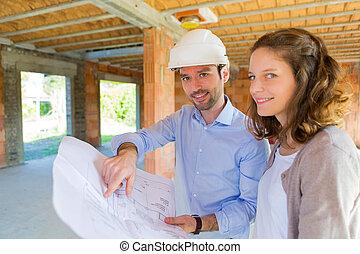vrouw, architect, bouwsector, jonge, bouwterrein