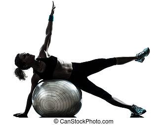 vrouw, bal, workout, fitness, het uitoefenen