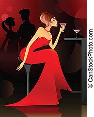 vrouw, bar, hebben, cocktail