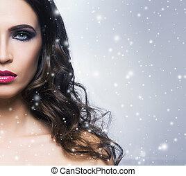 vrouw, beauty, besneeuwd, op, jonge, achtergrond., prachtig, verticaal