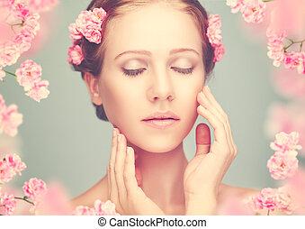 vrouw, beauty, bloemen, jonge, gezicht, roze, mooi