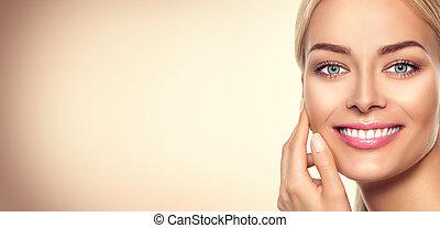 vrouw, beauty, face., verticaal, model, meisje