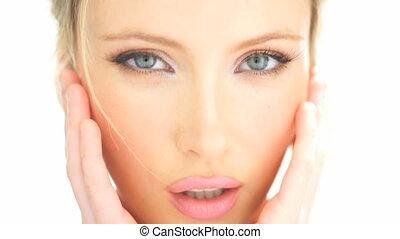 vrouw, beauty, haar, gezicht, aandoenlijk, blonde