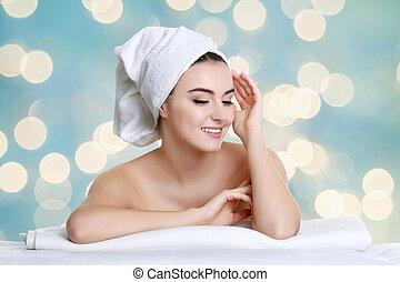vrouw, beauty, haar, na, jonge, gezicht, aandoenlijk, behandeling, spa