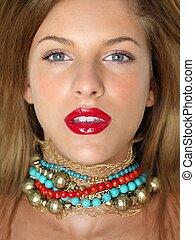 vrouw, beauty, kleurrijke, edelstenen, closeup, verticaal