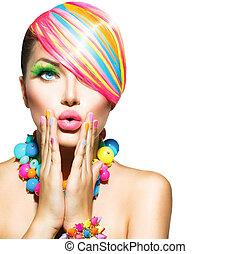 vrouw, beauty, kleurrijke, spijkers, makeup, accessoires, haar