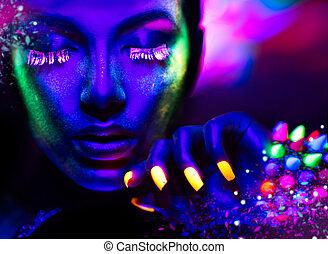 vrouw, beauty, makeup, neon ontsteken, mode, verticaal, fluorescentie, model