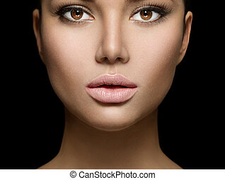 vrouw, beauty, vrijstaand, gezicht, closeup, achtergrond, verticaal, black