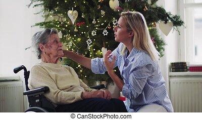 vrouw, bezoeker, haar, time., gezondheid, het kammen, thuis, senior, kerstmis