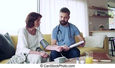 vrouw, bezoeker, thuis, gezondheid, visit., senior, gedurende