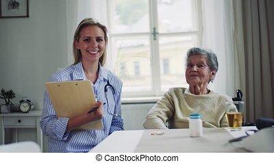 vrouw, bezoeker, wheelchair, gezondheid, verticaal, senior, home.