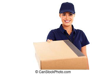vrouw, bezorgen, kavel dienst, courier