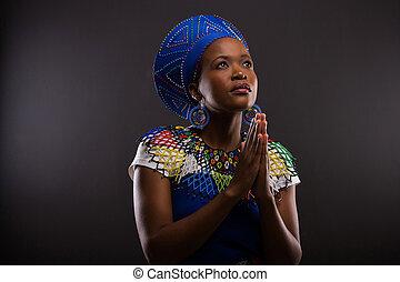 vrouw bidden, jonge, afrikaan