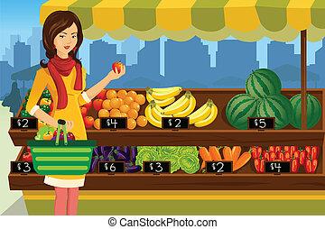 vrouw, buiten, shoppen , markt, landbouwers