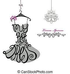 vrouw, chandelier., mal, dress., best, silhouette., woorden, jurkje