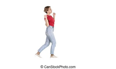 vrouw dansen, hebben, achtergrond., plezier, witte , glimlachen gelukkig