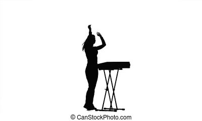 vrouw, dj, piano., achtergrond, silhouette, witte , spelend