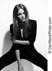 vrouw, doek, mode, black , glamor, sexy, jonge, model, hoog, verticaal, modieus, kaukasisch, look., mooi