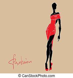 vrouw, dress., mode, rood
