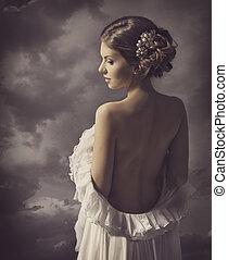 vrouw, elegant, back, retro, verticaal, meisje, artistiek