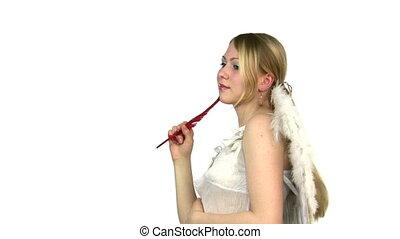 vrouw, engel, denken, hand., veer, vleugels