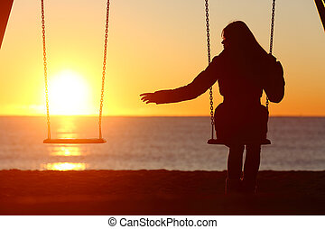 vrouw, gescheiden, missende , enkel, alleen, of, boyfriend