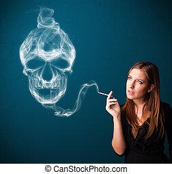vrouw, gevaarlijk, smoking, rook, jonge, schedel, vergiftig, sigaret