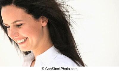 vrouw glimlachen, mooi
